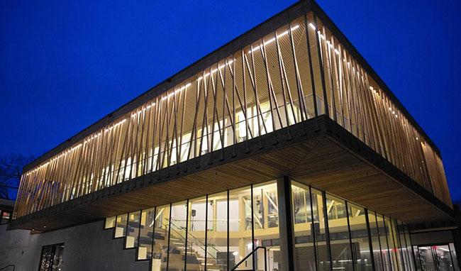 Writers Theatre, Glencoe exterior in twilight lit up