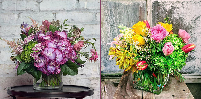 Left image: Flowers from The Flower Shop in Glencoe; Right Image: Flowers from Edward's Florist in Winnetka
