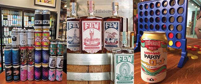 L: Beer on Central; M: FEW Spirits; R: Temperance Beer Co.