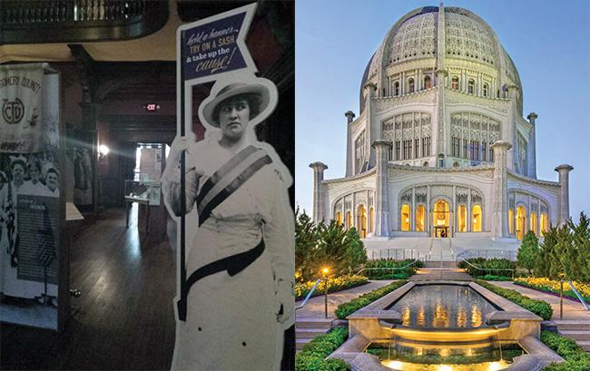 L: Dawes House/Evanston History Center, Evanston; R: Baha'i House of Worship, Wilmette