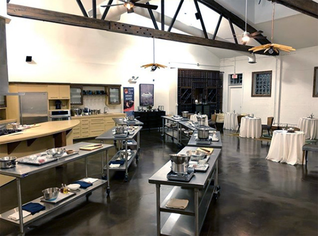 Chef's kitchen set for cooking class, Feast and Imbibe, Evanston