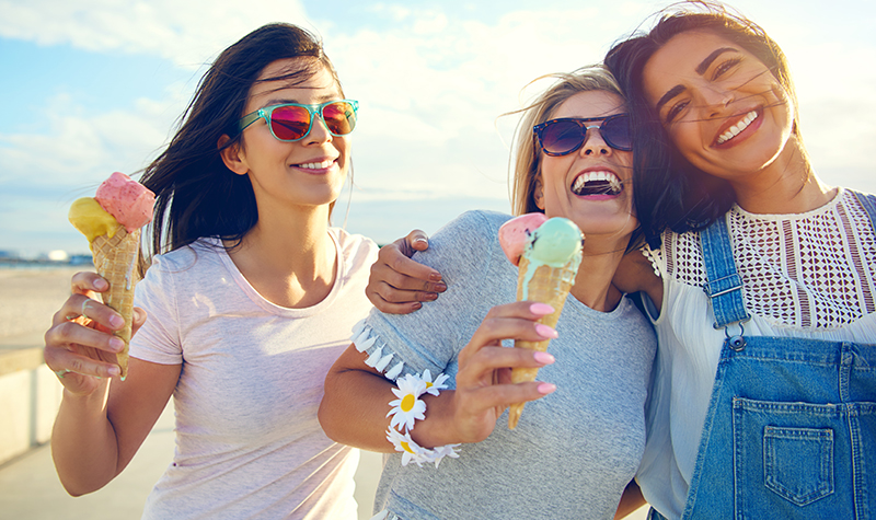 female friends having ice cream