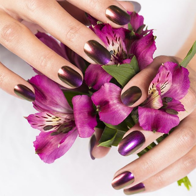 Manicured hands over purple flowers from Mario Tricoci, Westfield Old Orchard, Skokie