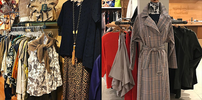 Left image: Assorted women's clothing on racks from Stella in Evanston; Right image: Woman's plaid long jacket on mannequin from Skandal in Winnetka